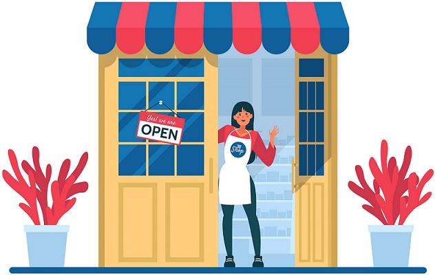 Продавец-консультант в дверях магазина